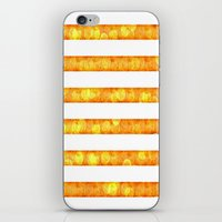 duvet cover iPhone & iPod Skins featuring Golden Glitter Stripes Duvet Cover by Corbin Henry