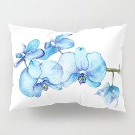Blue Orchids Two - Watercolor Pillow Sham
