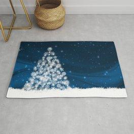 Blue Christmas Eve Snowflakes Winter Holiday Rug