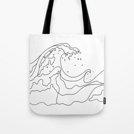 Minimal Line Art Ocean Waves Tote Bag