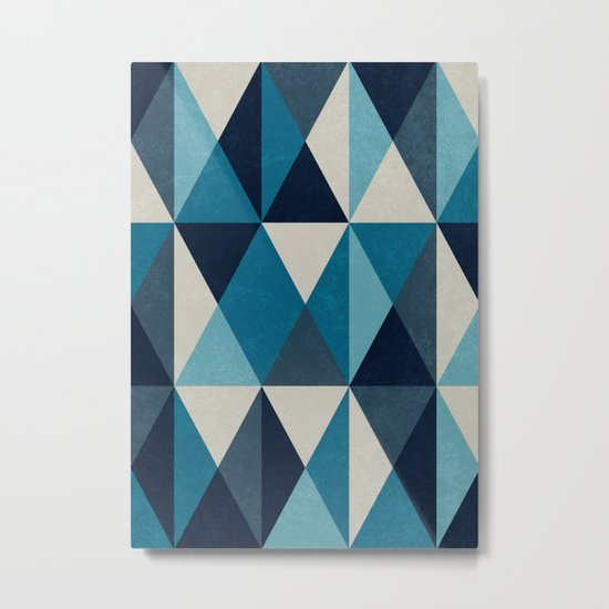 White, indigo and black rhombus pattern Metal Print