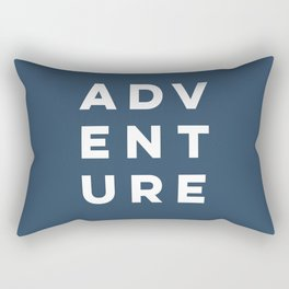Navy Blue Modern Adeventure Typograpy Rectangular Pillow