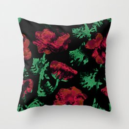 Abstract pattern . Red poppies. Throw Pillow
