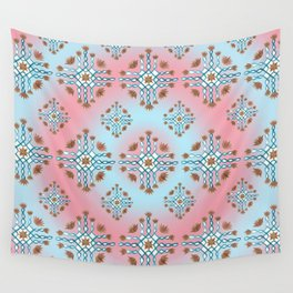 Teal and red kolam Wall Tapestry