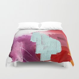 Desert Daydreams [3]: a colorful abstract mixed media piece in purple blue pinks and orange Duvet Cover
