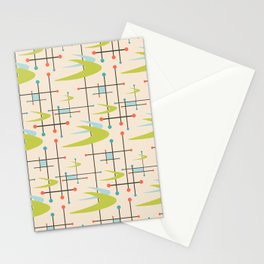 Mid Century Modern in Lime and Blush Stationery Cards