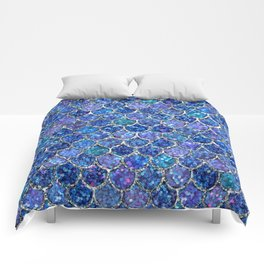 Sparkly Shades of Blue & Silver Glitter Mermaid Scales Comforters