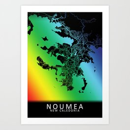 Noumea, New Caledonia, City, Map, Rainbow, Map, Art, Print Art Print
