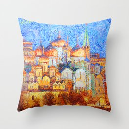 The Cathedrals of the Moscow Kremlin Throw Pillow