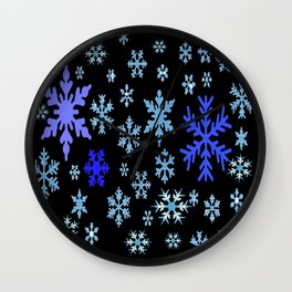 BLUE & PURPLE WINTER  SNOWFLAKES HOLIDAY ON BLACK Wall Clock