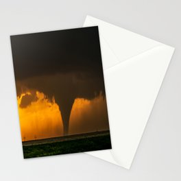 Silhouette - Large Tornado at Sunset in Kansas Stationery Cards