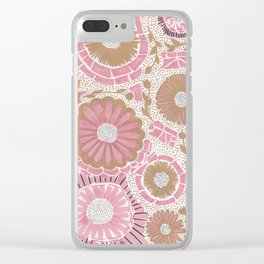 Pink & Gold Flowers Clear iPhone Case