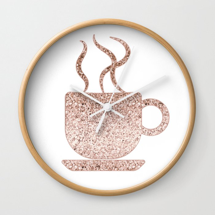Sparkling Rose Gold Coffee Mug Wall Clock