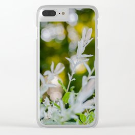 White Oleander Bokeh Clear iPhone Case