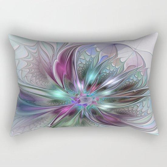 Colorful Fantasy Abstract Modern Fractal Flower Rectangular Pillow