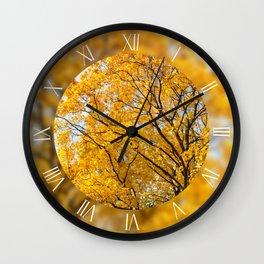 Yellow leafy autumn trees Wall Clock
