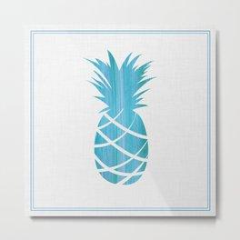 Blue Striped Pineapple Metal Print