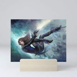 Futuristic sci-fi girl spy Mini Art Print