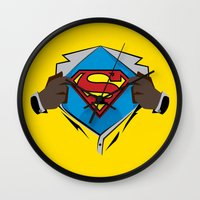 superman Wall Clocks featuring Superman  by Wave Sports