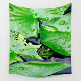 Peek  A Boo frog Wall Tapestry