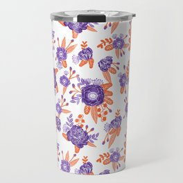 University football fan alumni clemson orange and purple floral flowers gifts Travel Mug
