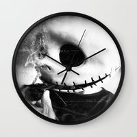 jack skellington Wall Clocks featuring smoking jack skellington by Joedunnz
