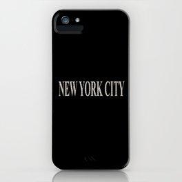 New York City (type in type on black) iPhone Case