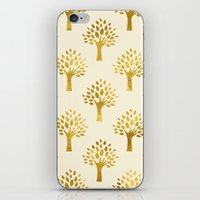 gold foil iPhone & iPod Skins featuring Cream Gold Foil 02 by Aloke Design
