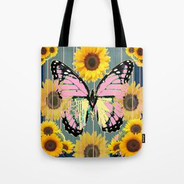 ABSTRACT PINK BUTTERFLY TEAL GARDEN SUNFLOWER Umhängetasche