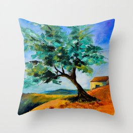 Olive Tree on the Hills Throw Pillow