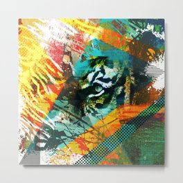 Bengal Tiger in  Abstract Paint Digital art Metal Print