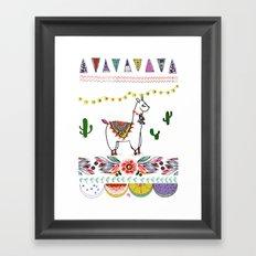 Llama Illustration Framed Art Print