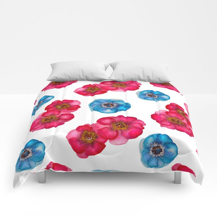 Pink and blue Anemones pattern Comforters