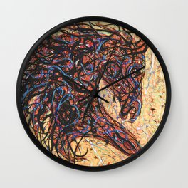 Abstract Horse Digital Ink Pollock Style Wall Clock
