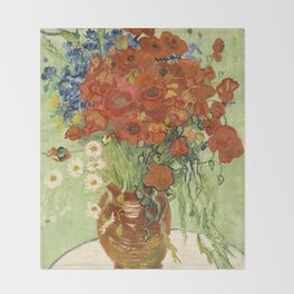 """Vincent van Gogh """"Still Life, Vase with Daisies, and Poppies"""" Throw Blanket"""