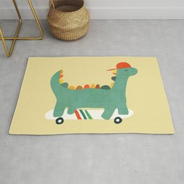 Dinosaur on retro skateboard Rug