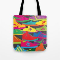 sneakers Tote Bags featuring Sneakers by Glen Gould