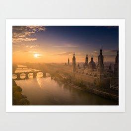 Sunrise by the Ebro. Art Print