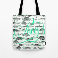 pisces Tote Bags featuring Pisces by Sergi Ferrando