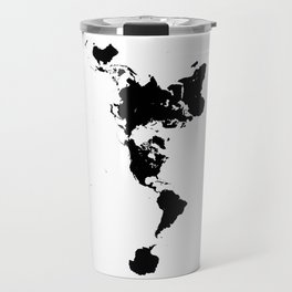 Dymaxion World Map (Fuller Projection Map) - Minimalist Black on White Travel Mug