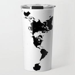 Dymaxion World Map (Fuller Projection Map) - Minimalist Black on White Travel Mug