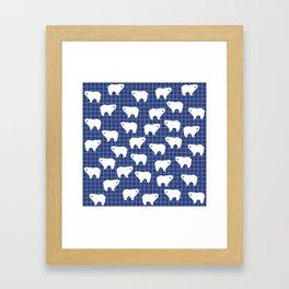White Polar Bear Pattern on Blue Background Framed Art Print