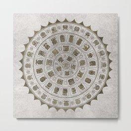 Maya Calendar Glyphs Golden texure on stone Metal Print