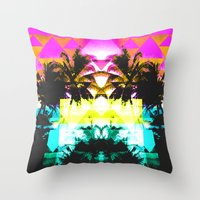 hawaiian Throw Pillows featuring Hawaiian Quilt by The Digital Weaver