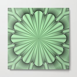 Abstract Flower in Green Metal Print
