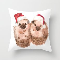 Christmas Twin Hedgehog Throw Pillow