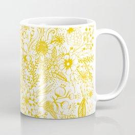 Yellow Floral Doodles Coffee Mug