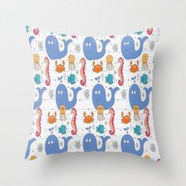 Doodle Sea Animals Pattern Throw Pillow