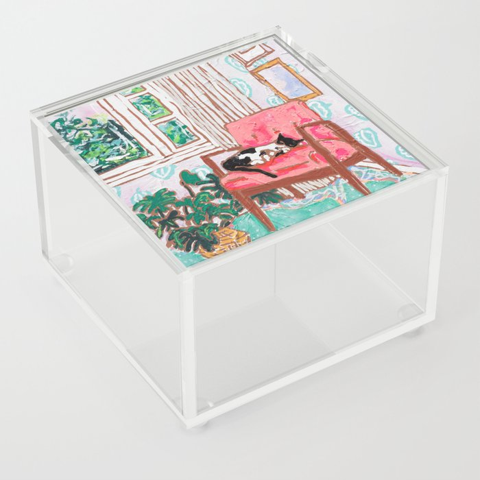 Little Naps - Tuxedo Cat Napping in a Pink Mid-Century Chair by the Window Acrylic Box