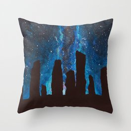 Outlander Craigh Na Dun Standing Stones Watercolor Painting with milky way galaxy Throw Pillow